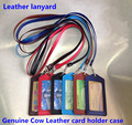 New Candy Colors ID Holders Bank Credit Card Holders Unisex Cow Leather Neck Strap Badge with Lanyard Wholesale High Quality