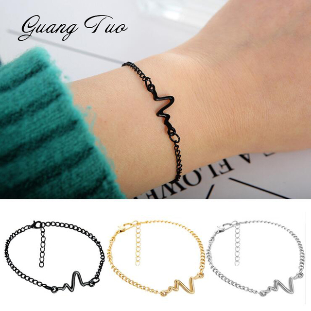 890715c47e New Listing Fashion Personality Simple Ecg Design Ray Diagram Bracelet  Frequency Beat Bracelet 1 Love Heart