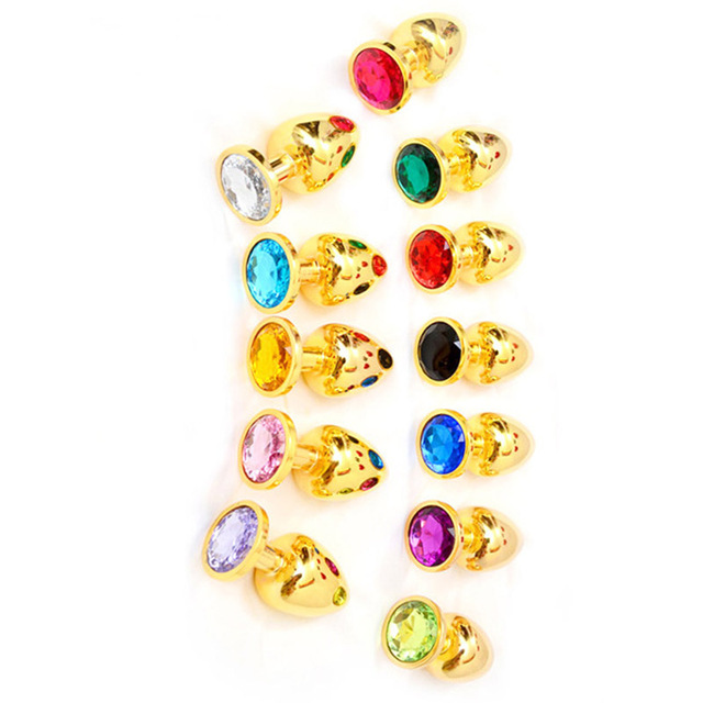 Multi color Mini Gold Metal Anal Plug Stainless Steel Butt Plugs Toys Sex Toys for Women Man Crystal Jewelry Sex Anal Products