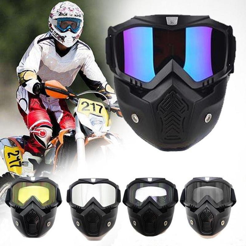 Motorcycle Goggles with Removable Face Mask Windproof Breathable Riding Ski Outdoor Sports Anti-slip Men Women Snow Goggles