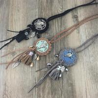 Boho Vintage Silver Metal Bull Large Round Charms Long Necklaces Pendants Coin Leather Tassel Ethnic Tribal