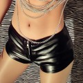 Low-Waist PU Leather Shorts New European Style  Female Nightclubs Bars Sexy Women Shorts Lederhosen