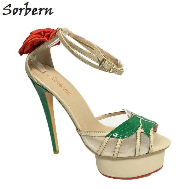 7403e1c9dae Sorbern Folhas Verdes Flor Vermelha Plataforma Sandálias de Salto Alto  Malha Tiras No Tornozelo Sandalia Feminina