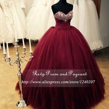 Stunning Burgundy Long Prom Dresses 2017 Beaded Sweetheart Neck Off The Shoulder Tulle Floor Length Ball