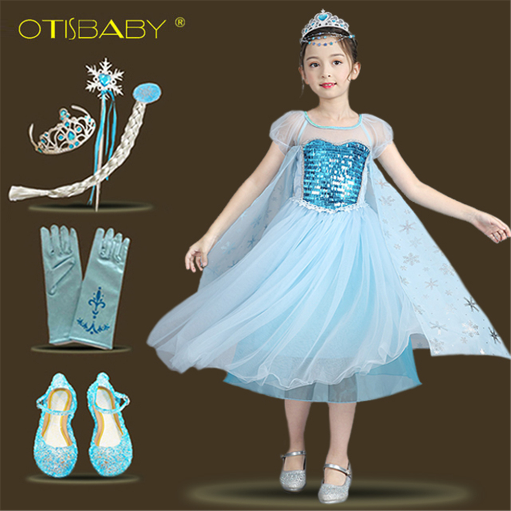 f7d4e62484c8 Baby Girls Tulle Elsa Dress 2018 Summer Short Sleeve Snowflake ...