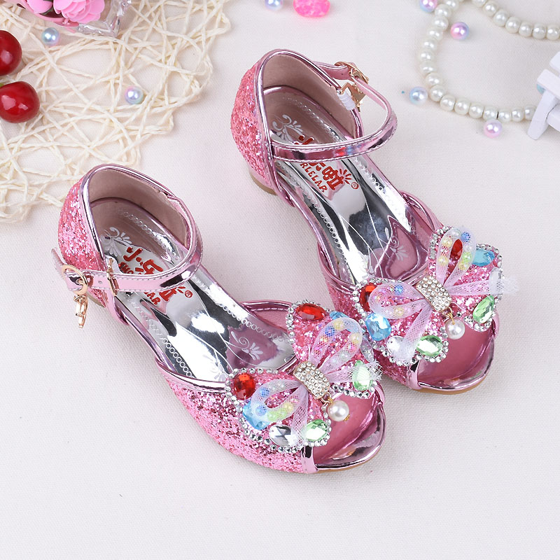Pink Blue Gold High Heels Shoes Girls Sandals children Fashion PU Leather  Elsa Princess Butterfly Design shoes Girls Sandals-in Sandals from Mother    Kids ... 13361664fbd3
