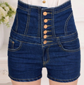 Dark color summer high waist abdomen drawing denim shorts plus size female shorts breasted lacing slim denim shorts TA1972
