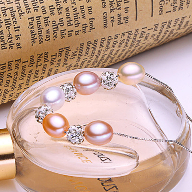 ASHIQI 925 Ciondolo in argento sterling Reale Multi Riso d'acqua dolce Naturale collana di perle per le donne gioielli regali