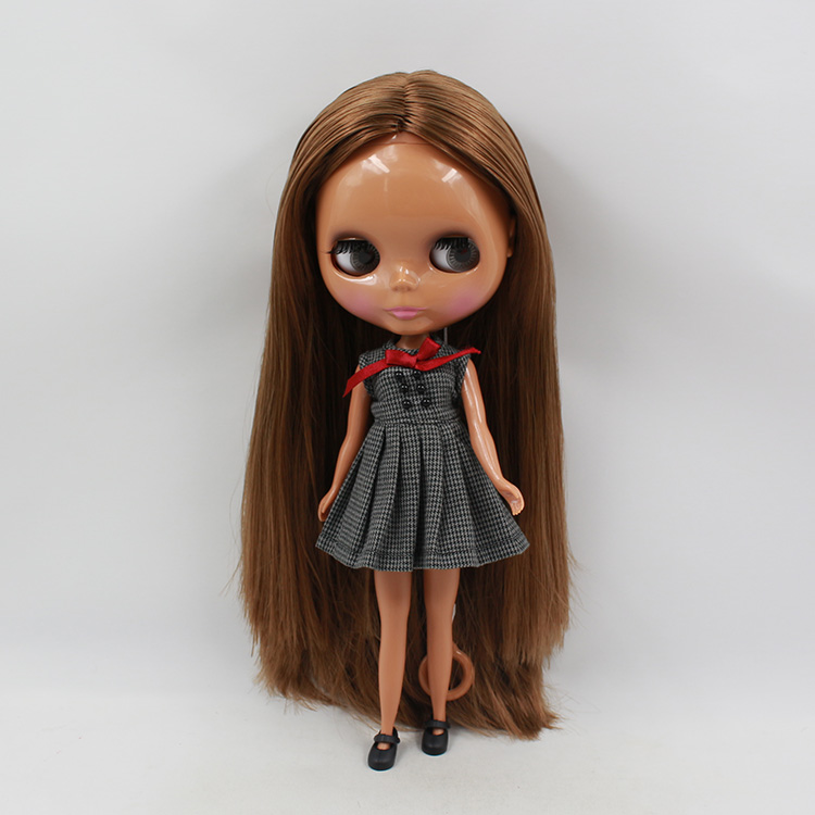 11.5 fashion dolls black skin Nude Blyth doll dark brown hair baby big eyes doll suits modified mini dolls for girls 2015