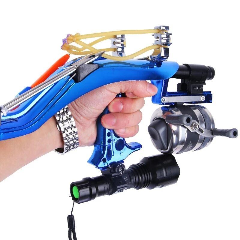 Professional Hunting Fishing Sling Bow Wrist Slingshot With Fishing Wheel Laser slingshot Night Hunting Fishing Catapult