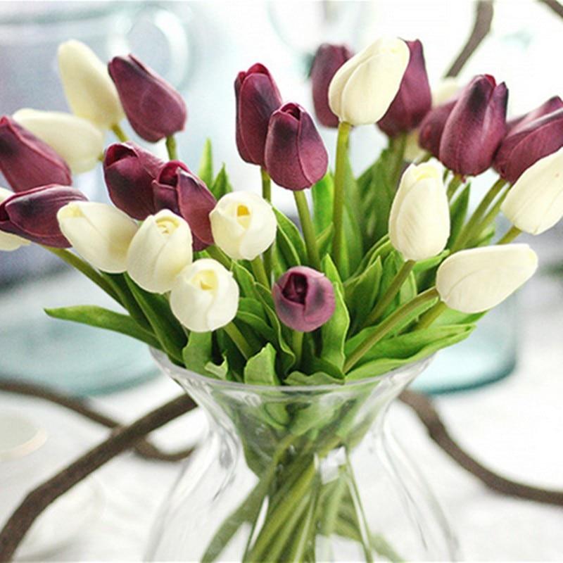NieNie 1 pc'er PU tulipaner Kunstige blomster Real touch artificiales para decora mini Tulip til hjemmet Bryllup Dekorative blomster