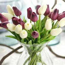 NieNie 10Pcs/lot PU Tulip Artifici Flowers real touch flower bouquet artificial flowers for Home Party Wedding decoration