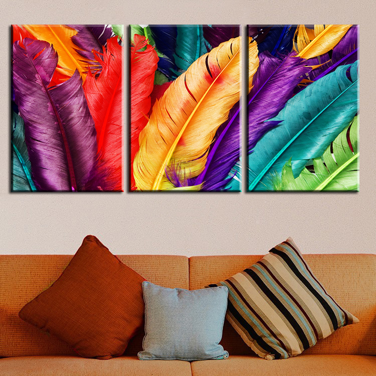 3 piece home decoration modern canvas wall art colored for Painting feathers on canvas