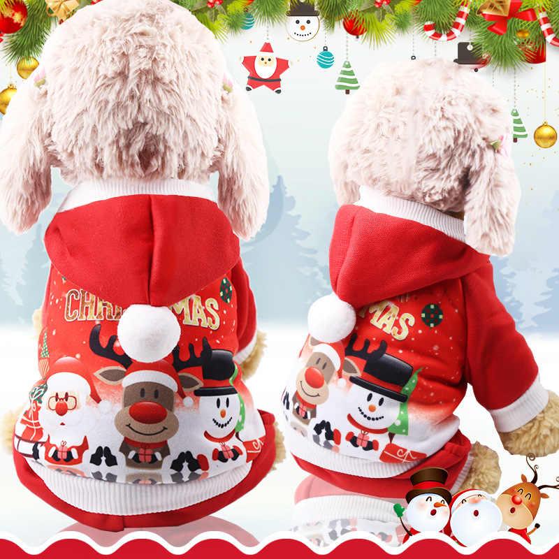 НОВАЯ РОЖДЕСТВЕНСКАЯ Одежда для собак костюм для домашних животных Мягкий теплый флисовый, для питомца щенок собака кошка толстовки четыре ноги маленький свитер для собак пальто XS-2XL