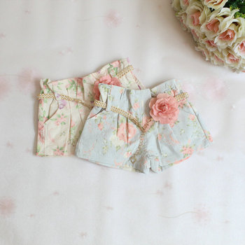 girls summer floral shorts,children denim shorts,cotton,sashes,pink/blue,2-6 yrs,5 pcs / lot,wholesale,1307