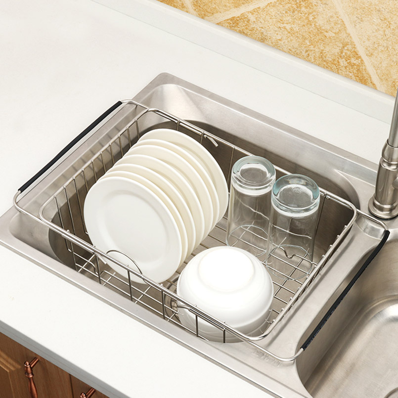 JILIDA Adjustable Over Sink Dish Drying Rack Stainless Steel Kitchen Storage Basket Drain Holder Fruit Rustproof Home Organizer