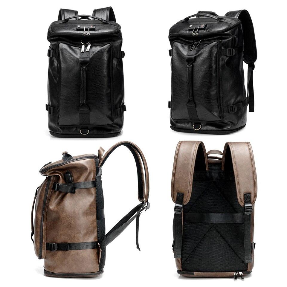 17 pouces ordinateur portable 15.6 PU cuir sacs à dos Anti-vol hommes mode sac à dos dos Packs voyage étudiant sacs chaussures USB musique sac à dos - 3