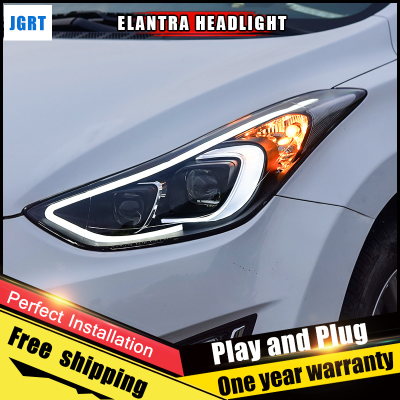 Car Style LED headlights for Hyundai Elantra 2013-2016 for Elantra head lamp Lens Double Beam H7 HID Xenon bi xenon lens 2PCS hireno headlamp for 2004 10 hyundai elantra headlight headlight assembly led drl angel lens double beam hid xenon 2pcs
