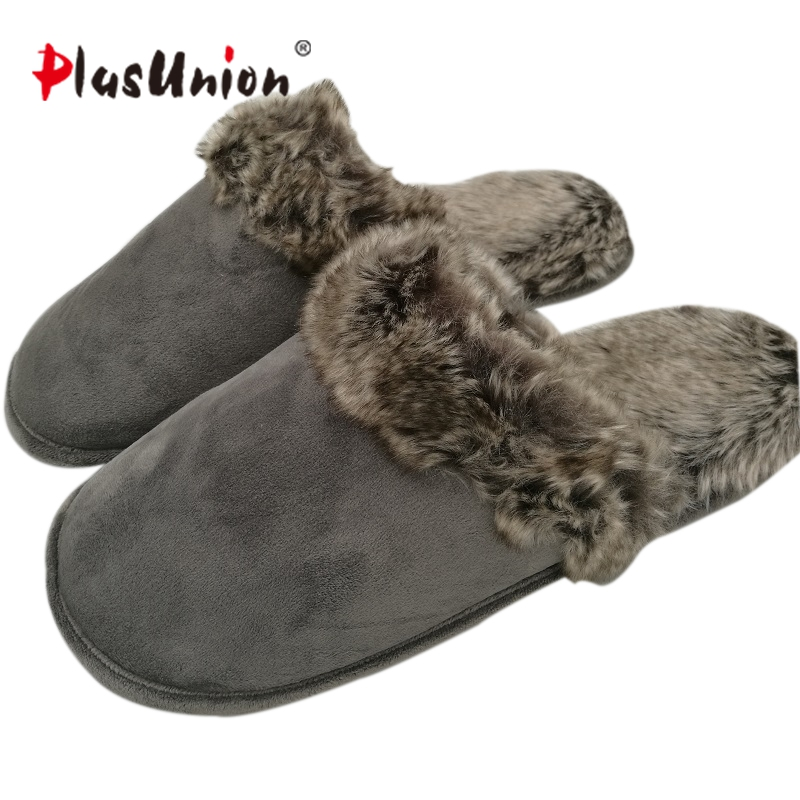382d0f303741b Warm indoor brand solid faux fur slippers for men Winter soft flock ...