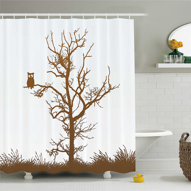 Owls Home Decor Shower Curtain Set Cross Eyed Owl On Autumn Tree Branch Solitary Nocturnal Bird Artistic Print Bathroom Accessor