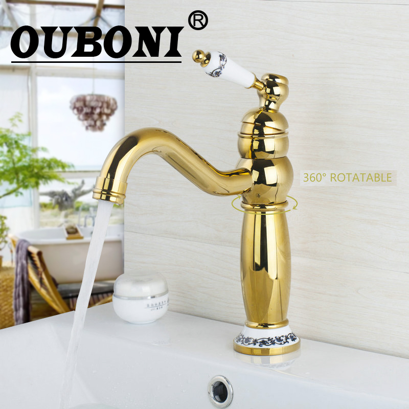OUBONI Tall Kitchen/Bathroom Faucet Polished Golden Swivel 360 Ceramic Single Handle Sink Faucet,Mixer Tap ceramic single handle bathroom vanity sink mixer tap chrome finished