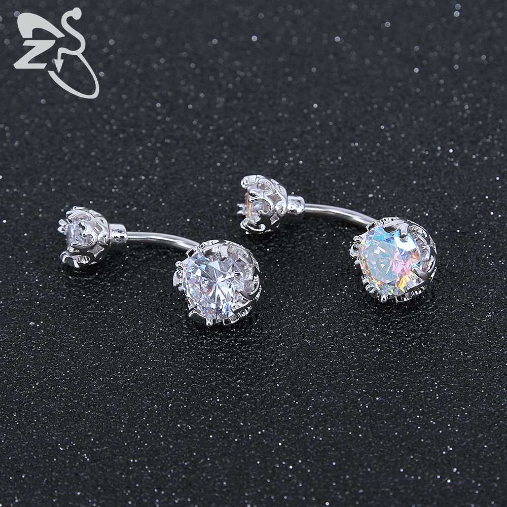 Surgical Steel Navel Rings Crystal Belly Button Ring Bar Piercing Jewelry AB