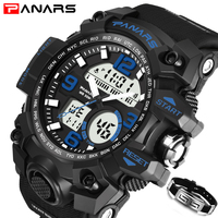 PANARS Men Sports   Watches   Mens S SHOCK Military Style Big Dial Quartz Wrist   Watches   LED Digital Waterproof   Watch   Male kol saati