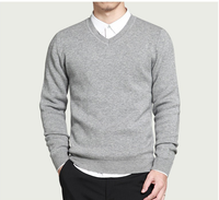 2018 Spring mens sweater pullovers Simple style cotton knitted V neck sweater jumpers Thin male knitwear Blue Red Black M 4XL