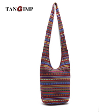 TANGIMP Women Ethnic Shoulder Bag Aztec Hippie Hippy Gypsy Boho Tribal Big  Embroidery Woven Hobo Sling 4f0bfbcffff11
