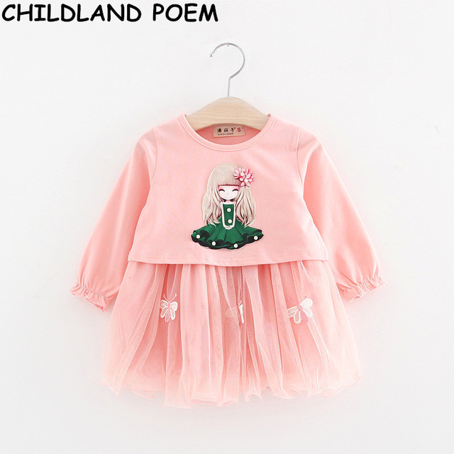 2017 spring baby girl dress butterfly newborn 1 year birthday dress toddler tutu flower baby party girls dress baby girl clothes