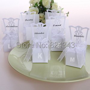 Wedding Gift Letter Box : Wedding Favors and Gift Silver Chair Favors Box Personalized Letter ...