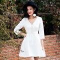 Yigelila 6839 últimas 2017 nuevo de las mujeres de moda sexy con cuello en v blanca dress