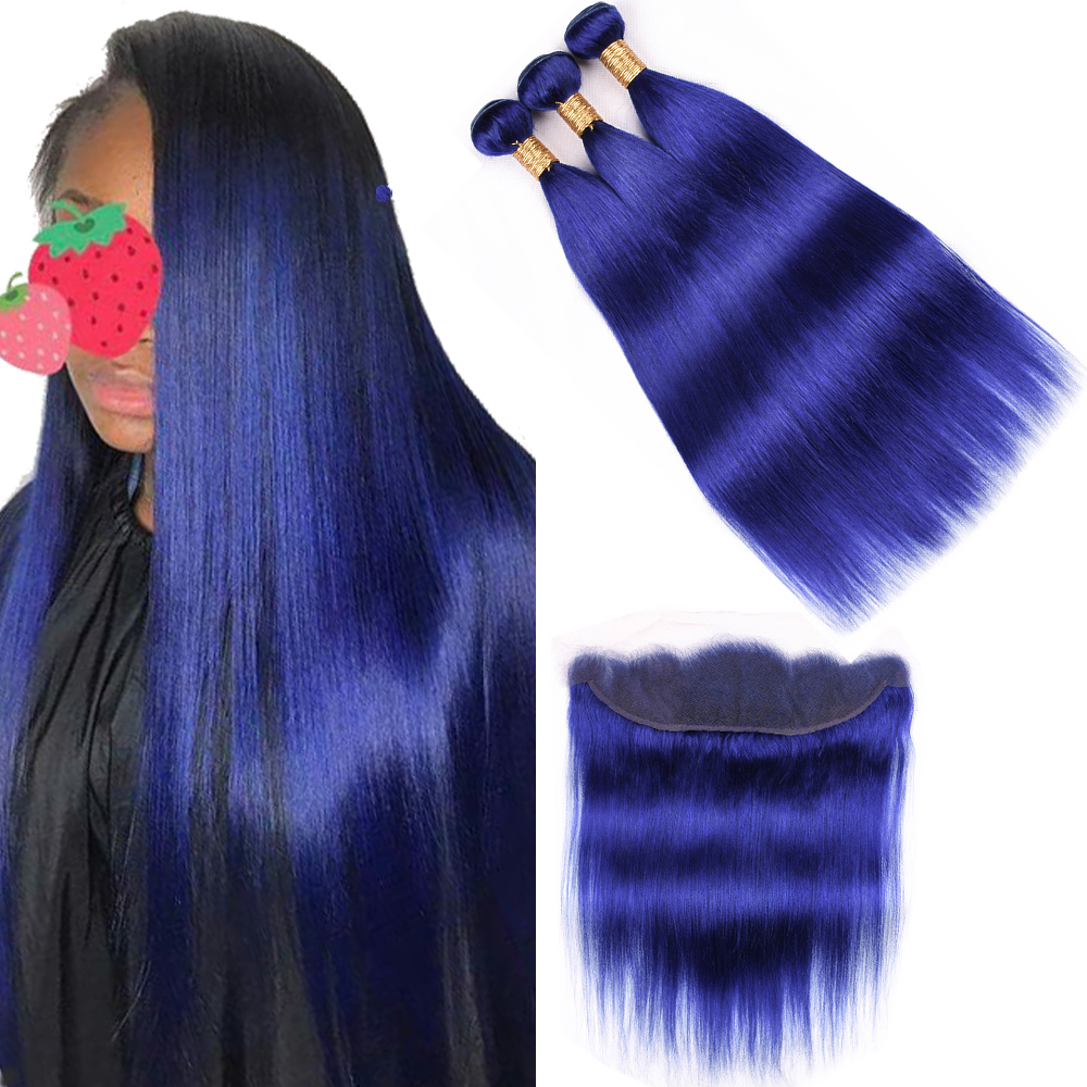 Malaysian Straight Hair With Lace Frontal Closure Blue 3 Bundles Human Hair Bundles With Closure Remy Customize Any Color