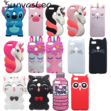 """For Huawei P Smart 5.65"""" 3D Case Soft Silicone Cartoon Unicorn Lucky Cat Phone Back Cover Skin Shell for Huawei Honor 9 Lite"""