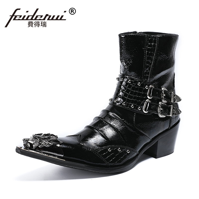Plus Size Pointed Toe Studded Man High Heels Metal Tipped Rocker Shoes Patent Leather Men's Cowboy Motorcycle Ankle Boots SL447 plus size vintage pointed toe man metal tipped martin shoes handmade designer genuine leather men s punk rocker ankle boots sl18