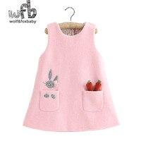 Perakende 2-8 yıl elbise yün karışımları katı renk karikatür tavşan elbise çocuk çocuk İlkbahar sonbahar güz