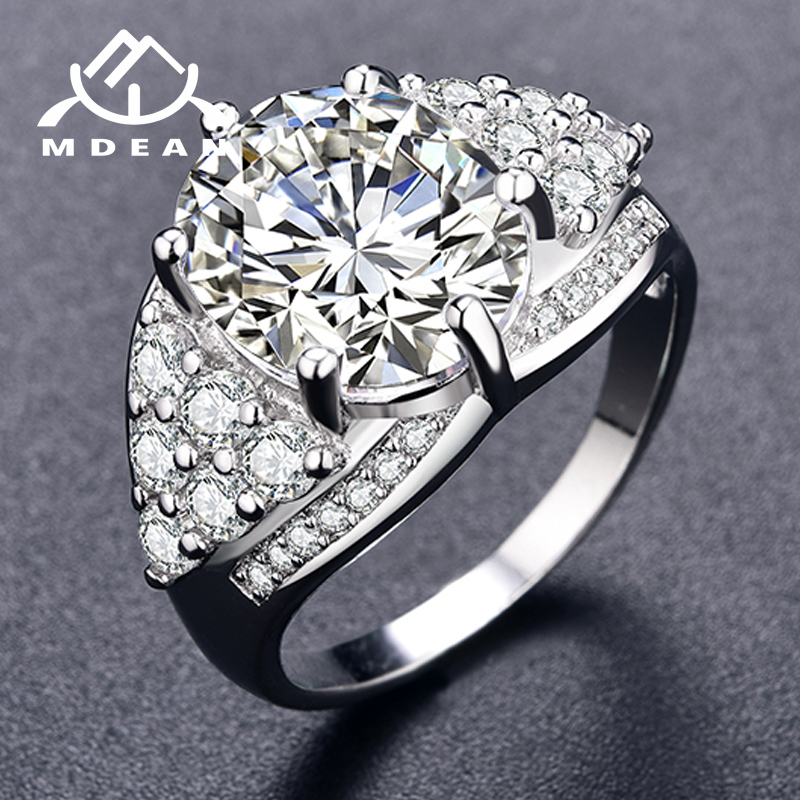 MDEAN Noble White Gold Color Engagement Rings for Women Wedding White AAA Zircon Fashion Jewelry Bague Bijoux Size 6-10 H168