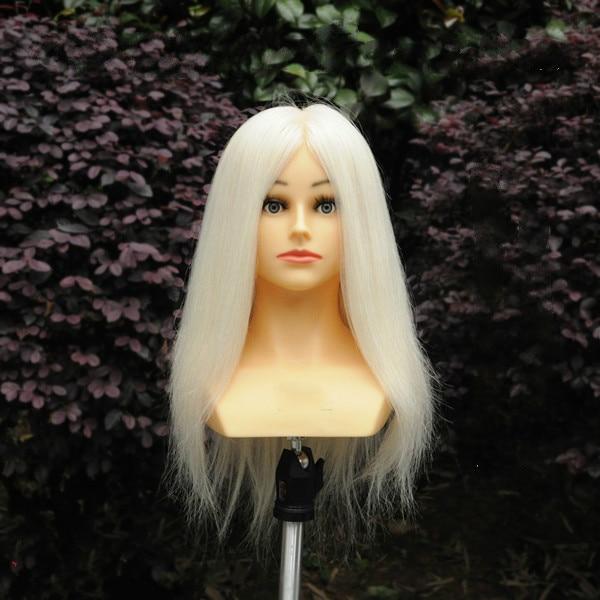 16 polegada 100% Cabeças de Boneca de Lã Cabelo Cabeleireiro Cabeleireiro Manequim Cabeça Com O Ombro para o Tingimento, Tábua de Engomar e de Corte