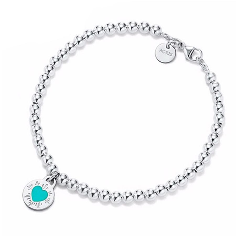CHAMSS 100% 925 Sterling Silver Original Round Heart Chain Tiff Bracelet Bangle For Women Authentic Fine Jewelry Christmas Gift trendy letter heart round rhinestone bracelet for women