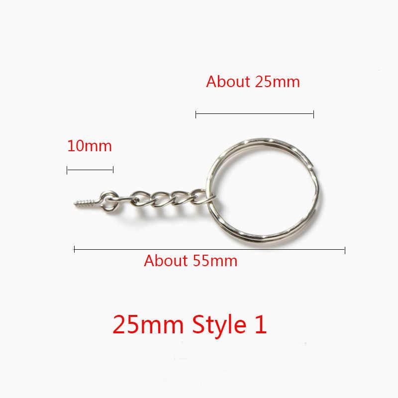 20 pcs/lot 25mm 30mm longueur porte-clés porte-clés couleur argent rond fendu porte-clés porte-clés pour sacs bricolage bijoux faisant des matériaux