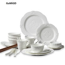 Guci Ceramic tableware 28 European style sculpture palace dishes christmas decorations for home creative gift set
