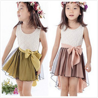 Baby Girl Clothes Dress Cute Brown Yellow 1pcs Set Children Clothes Suit 5 Size for 2-7Y