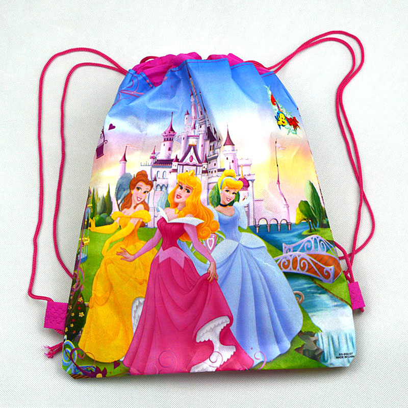 Image 2 - 1pc Disney Princess Kids Favors Baby Shower Non Woven Backpack Drawstring Bags Birthday Party Decoration Supplies-in Gift Bags & Wrapping Supplies from Home & Garden