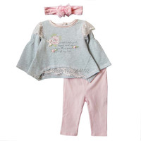 Retail 2014 New Baby Clothing Set Spring Autumn Girls 3 Piece Suits T Shirt Pants Bowknot