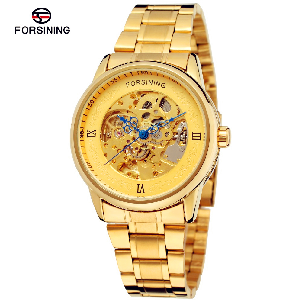 Fashion FORSINING Men Brand Skeleton Stainless Steel Self Wind Watch Automatic Mechanical Wristwatches Gift Box Relogio Releges men s luxury skeleton stainless steel retro automatic mechanical watch hollow engraving self wind relogio masculinos hot