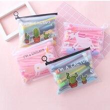 Kawaii Anime Cactus Unicorn 20 pieces Pens Cartoon Pink Stationery Gel Pen Set With File Document Folder For Boy Girl Animal