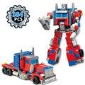 Kazi 384 unids camión trans robot ladrillos de construcción, bloques playmobil transformación juguetes para niños regalo de los niños