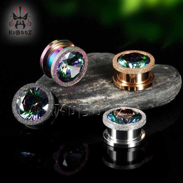 Кубуз затычка для ушей из нержавеющей стали с циркониевым кристаллом