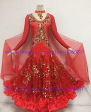 Smooth Ballroom Dance Dresses Hight Quality Custom made Size Red  Competition Costume Chacha Dress Rumba