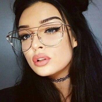 Cat Eye glasses Frame Women Retro Metal Eyeglasses